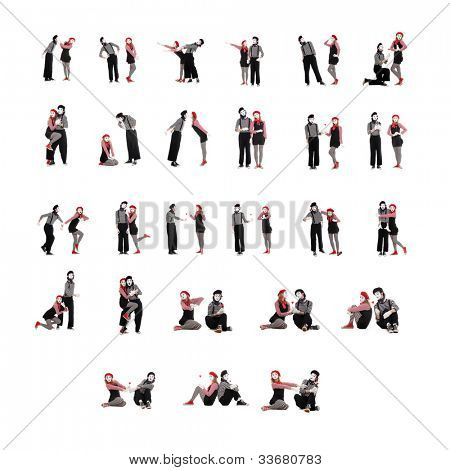 photo collection of two funny mimes isolated on white background