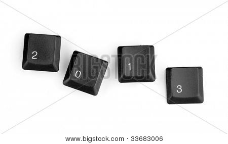 Keyboard keys saying 2013 isolated on white
