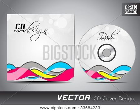 Vector CD cover in grey color with colorful stylish wave pattern and space for your text. EPS 10. Vector illustration.