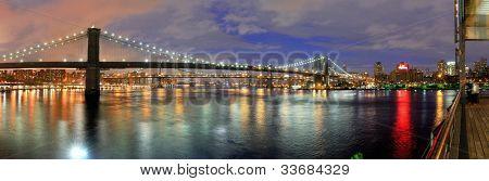 brooklyn skyline with landmark bridges in new york city