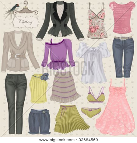 Vector collection of fashionable clothes seasons spring, summer for girl