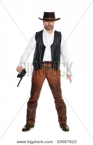 Middle aged man in a cowboy hat with a gun.