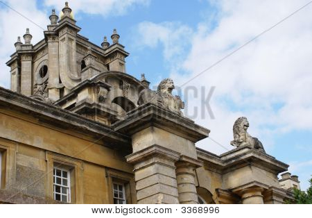 Statues Of Lions. Decorative Roof.