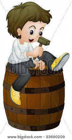 Illustration of a barrel and boy