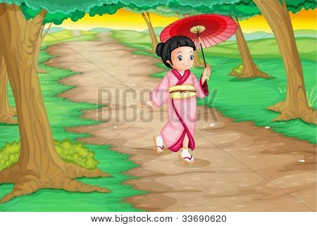 Illustration of a geisha walking down a path