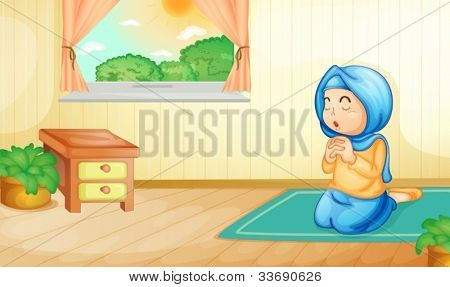 Illustration of a muslim girl praying