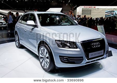 GENEVA - MARCH 8: The Audi Q5 Hybrid on display at the 81st International Motor Show Palexpo-Geneva on March 8; 2011  in Geneva, Switzerland.