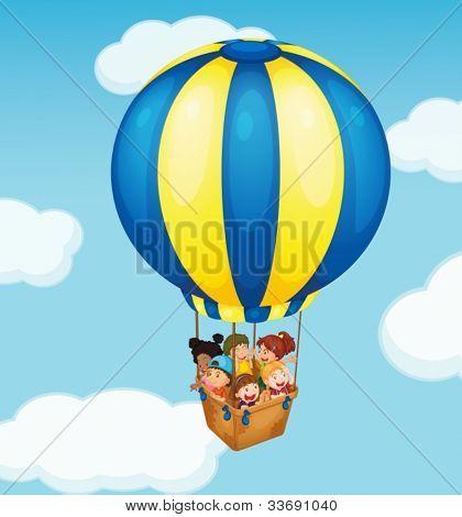 Illustration of children in a balloon
