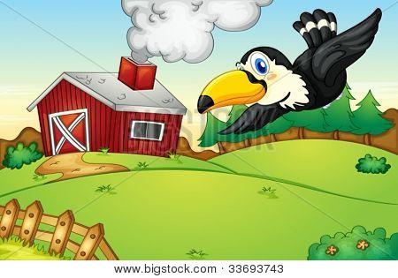 Illustration of a bird flying over a farm