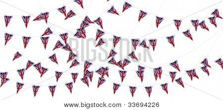 3D Render of Union Jack Bunting und Banner