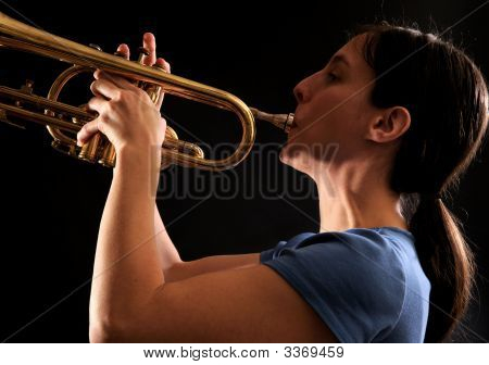 Woman Playing Trumpet - Study