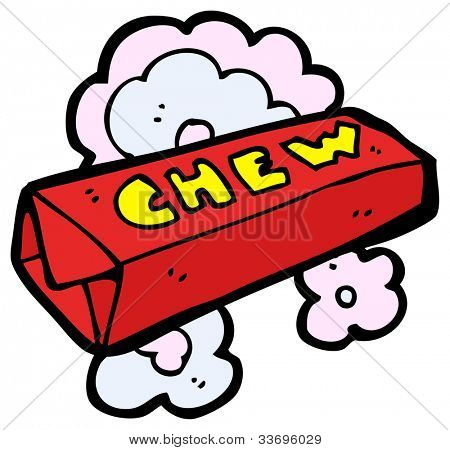 cartoon packet of chewing gum