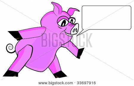 Pink pig speaking