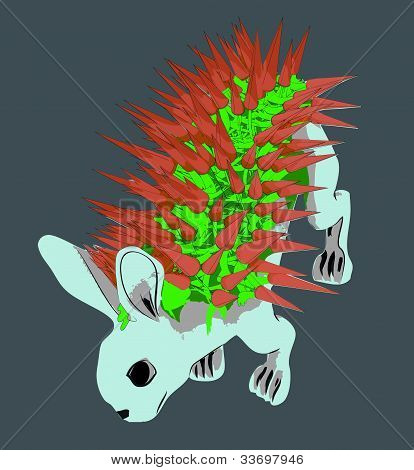 Grey blue rabit with carrot