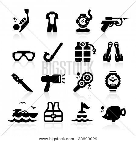 Diving icons set Elegant series