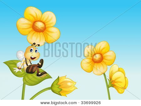 Illustration of a bee on a flower - EPS VECTOR format also available in my portfolio.