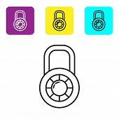 Black Line Safe Combination Lock Wheel Icon Isolated On White Background. Combination Padlock. Secur poster