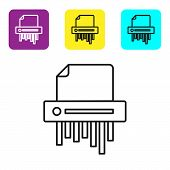Black Line Paper Shredder Confidential And Private Document Office Information Protection Icon Isola poster
