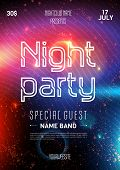 Club Party Flyer. Night Starry Sky. Blue Space Background. Party Event Decoration. Art Design. Black poster