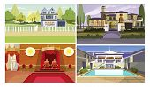 Sightseeing Flat Vector Illustration Set. Palace, Hotel, Houses. Tourism And Nature Concept poster