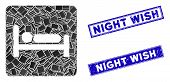 Mosaic Motel Bed Icon And Rectangular Night Wish Seal Stamps. Flat Vector Motel Bed Mosaic Pictogram poster