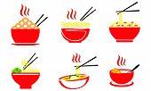 Collection Noodle Food, Noodle Bowl Logo Vector poster