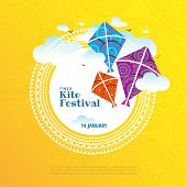 Vector Illustration On The Theme Of Kite String Festival Of India poster