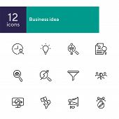 Business Idea Line Icon Set. Funnel, Bulb, Lightbulb. Human Resource Concept. Can Be Used For Topics poster