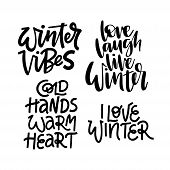 Winter Phrases Vector Letterings Set. Winter Vibes, Love Winter Quote poster