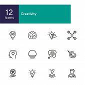Creativity Line Icon Set. Artist, Idea, Lightbulb. Creative Job Concept. Can Be Used For Topics Like poster