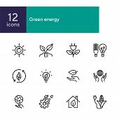 Green Energy Line Icons. Set Of Line Icons On White Background. Environment Concept. Ecology, Planet poster