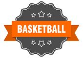Basketball Isolated Seal. Basketball Orange Label. Basketball poster