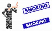 Mosaic Smoking Icon And Rectangular Smoking Rubber Prints. Flat Vector Smoking Mosaic Icon Of Scatte poster