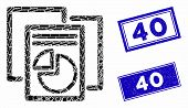 Mosaic Statistics Icon And Rectangle 40 Seal Stamps. Flat Vector Statistics Mosaic Icon Of Scattered poster