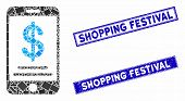 Mosaic Dollar Mobile Wallet Pictogram And Rectangle Shopping Festival Seal Stamps. Flat Vector Dolla poster