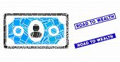 Mosaic Banknote Pictogram And Rectangular Road To Wealth Seal Stamps. Flat Vector Banknote Mosaic Ic poster