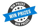 Win Prizes Sign. Win Prizes Blue-black Round Ribbon Sticker poster