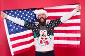 Holly Jolly. Patriotic Man Celebrate Xmas And New Year. Happy Santa Hold American Flag. Festive Patr poster