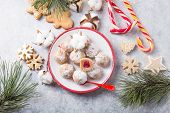 Christmas Or New Year  Dessert. Christmas Sweet Candies On The Dessert Table . Balls Of Biscuit With poster