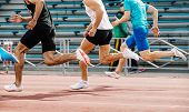 Running Race Men Sprinter Athletes In Track And Field Competition poster