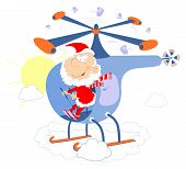 Santa Claus Flies On The Helicopter Illustration. Funny Pilot Santa Claus Flies On The Helicopter Is poster