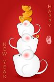 2020 Chinese New Year Of Cute Cartoon Mouse And Golden Ingot. Chinese Translation : Happy New Year. poster