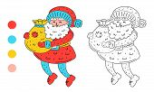 Coloring Page Outline Of Cartoon Cute Santa Claus With A Bag Of Presents. Monochrome And Colored Ver poster