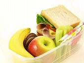 picture of lunch box  - Healthy lunch served in lunch box on isolated background - JPG