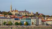 Gorgeous Buda Castle In Buda Side Of City Over Colorful Buildings And Danube River Embankment On Cle poster