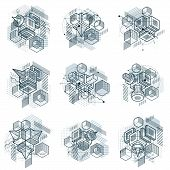 Isometric Abstract Backgrounds With Lines And Other Different Elements, Vector Abstract Templates. C poster
