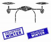Mosaic Quadcopter Icon And Rectangle Collection Winter Seals. Flat Vector Quadcopter Mosaic Icon Of  poster