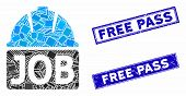 Mosaic Job Icon And Rectangle Free Pass Stamps. Flat Vector Job Mosaic Icon Of Randomized Rotated Re poster