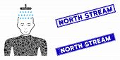 Mosaic Man Shower Pictogram And Rectangular North Stream Stamps. Flat Vector Man Shower Mosaic Picto poster