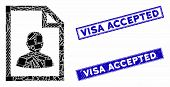 Mosaic User Page Pictogram And Rectangular Visa Accepted Watermarks. Flat Vector User Page Mosaic Pi poster